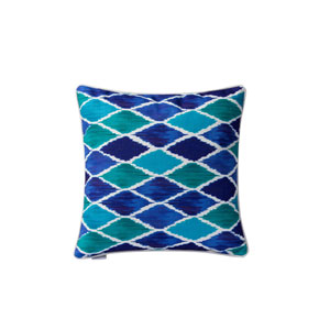 Casa Blue Harlequin 18-Inch Throw Pillow