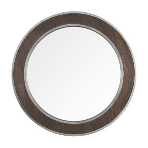 Macie Farmhouse Steel Round Wall Mirror