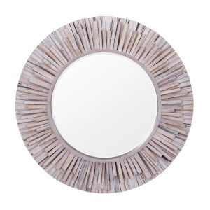 Nellie Beige Circular Wooden Wall Mirror
