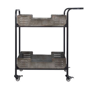 Casa Black Weathered And Galvanized Bar Cart