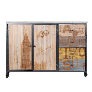 Casa Weathered Steel Cabinet