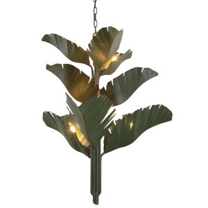 Banana Leaf Green Nine-Light Chandelier