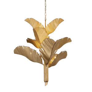 Banana Leaf Gold Nine-Light Chandelier