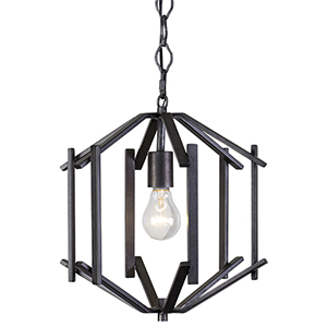 Offset Forged Iron One-Light Pendant