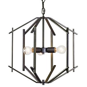 Offset Forged Iron Three-Light Pendant