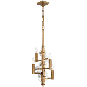 Engeared Antiqued Gold Leaf Four-Light Chandelier