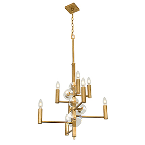 Engeared Antiqued Gold Leaf Eight-Light Chandelier