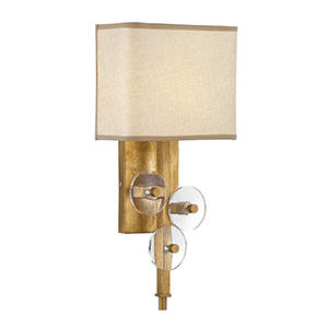 Engeared Antiqued Gold Leaf One-Light Wall Sconce