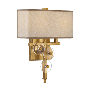 Engeared Antiqued Gold Leaf Two-Light Wall Sconce