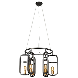 Loophole Rustic Bronze and Gold Six-Light Chandelier