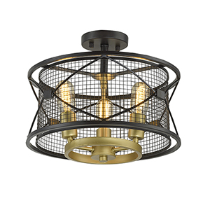 Harlequin Warm Bronze and Gold Three-Light Semi Flush Mount