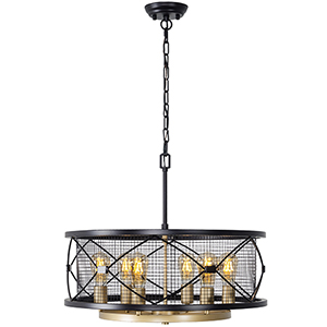 Harlequin Warm Bronze and Gold Six-Light Pendant