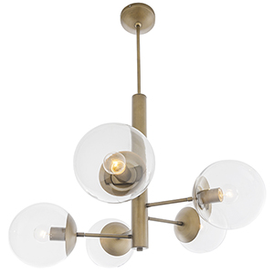 Mid-Century Antique Brass Five-Light Chandelier