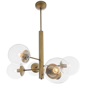 Mid-Century Antique Brass Six-Light Chandelier