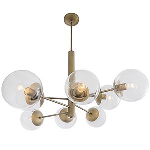 Mid-Century Antique Brass Eight-Light Chandelier
