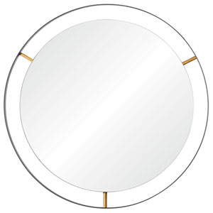 Framed Matte Black 30-Inch Round Mirror