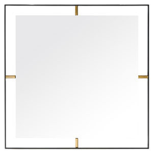Framed Matte Black Square Mirror
