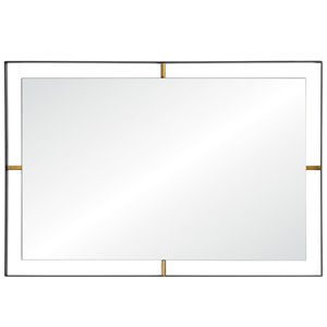 Framed Matte Black Rectangle Mirror