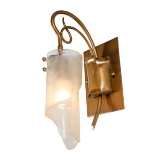 SoHo One-Light Bath/Sconce in Hammered Ore with Brown Tint Ice Glass