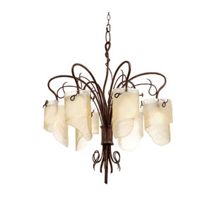 SoHo Six-Light Chandelier in Hammered Ore with Brown Tint Ice Glass
