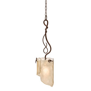 SoHo One-Light Pendant in Hammered Ore with Brown Tint Ice Glass