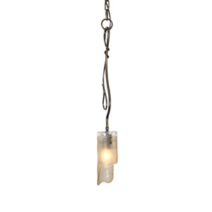 Soho Statue Garden Single Light Mini Pendant w/ Brown Tint Ice Recycled Glass