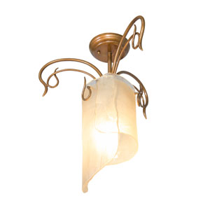SoHo Semi-Flush Ceiling-Light in Hammered Ore with Brown Tint Ice Glass