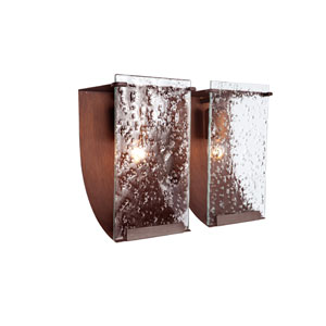 Rain Two-Light Hammered Ore with Rain Glass Bath Fixture