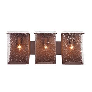 Rain Three-Light Hammered Ore with Rain Glass Bath Fixture