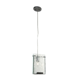 Rain One-Light Mini Pendant in Rainy Night with Recycled Hand-Pressed Glass