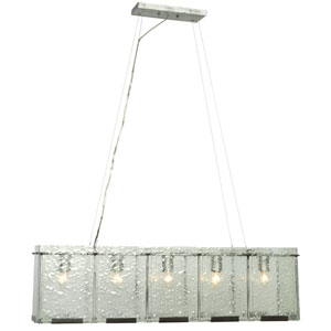 Rain Five-Light Linear Pendant in Rainy Night with Recycled Hand-Pressed Glass
