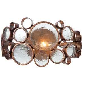 Fascination One-Light Bath Fixture in Hammered Ore with Recycled Glass