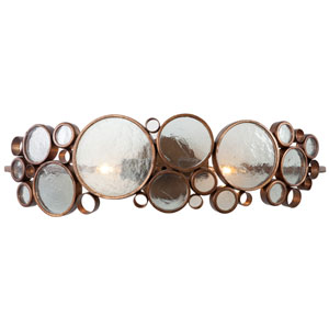Fascination Two-Light Bath Fixture in Hammered Ore with Recycled Glass