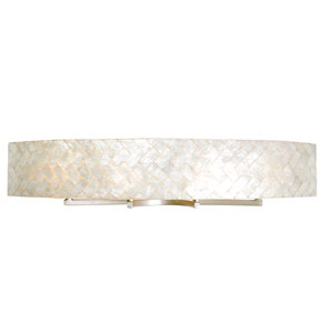 Radius Gold Dust Four-Light Bath Fixture with Herringbone Natural Capiz