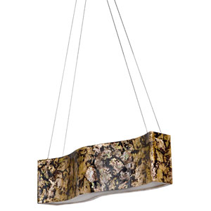 Big Four-Light Waive Linear Pendant with Reclaimed Chocolate Tiger Shell