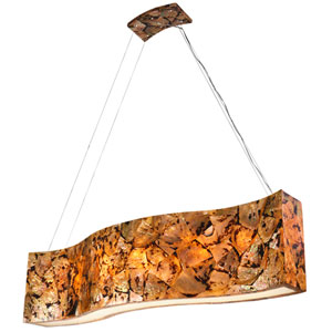 Big Sustainable Chocolate Tiger Shell Six-Light Linear Pendant