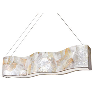 Big Eight-Light Waive Linear Pendant with Reclaimed Kabebe Shell