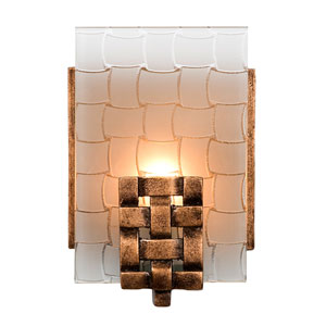 Dreamweaver One-Light Bath Fixture with Hand Woven Recycled Steel