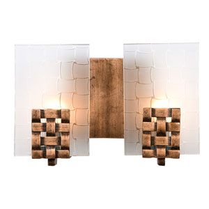 Dreamweaver Two-Light Bath Fixture with Hand Woven Recycled Steel