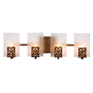 Dreamweaver Four-Light Bath Fixture with Hand Woven Recycled Steel