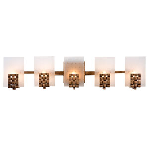 Dreamweaver Five-Light Bath Fixture with Hand Woven Recycled Steel