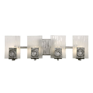 Polar Four-Light Bath Fixture with Recycled Steel and Glass