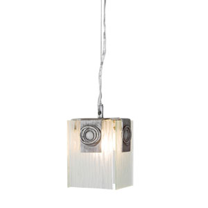 Polar One-Light Mini Pendant in Blackened Silver with Ice Crystal Recycled Glass