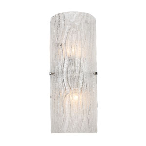Brilliance Two-Light Chrome Finish with Bright Ice Glass Wall Sconce