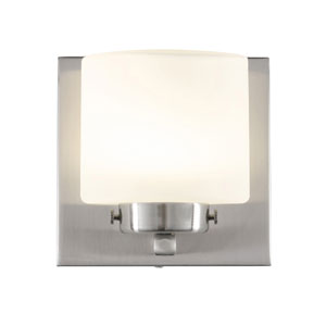 Clean Satin Nickel LED One Light Bath Fixture with Acid Etched Opal Glass