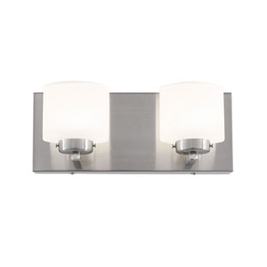 Clean Satin Nickel LED Two Light Bath Fixture with Acid Etched Opal Glass