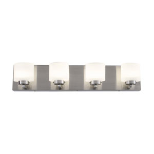 Clean Satin Nickel LED Four Light Bath Fixture with Acid Etched Opal Glass