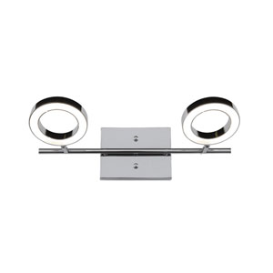 Halo Polished Chrome LED Two Light Bath Fixture