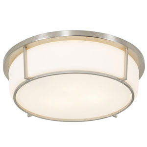 Smart Satin Nickel 13-Inch Two-Light Flush Mount