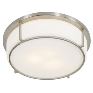 Smart Satin Nickel 17-Inch Three-Light Flush Mount